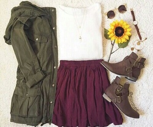 outfit, skirt, and fall image