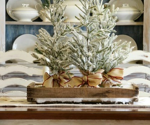 centerpiece, christmas, and dining table image
