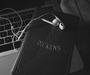black &white, book, and dickens image