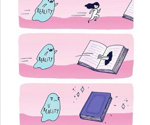 book, reality, and funny image