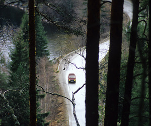 car, forest, and road image