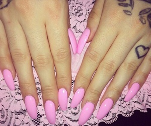 nails, pink, and tattoo image