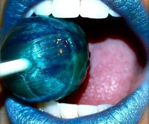 lips, blue, and lollipop image