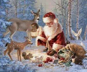 snow, santa clause, and chistmas image