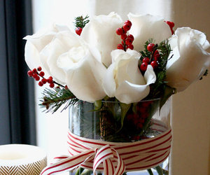rose., christmas., and decorations. image