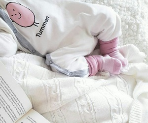 baby girl, book, and cuddling image