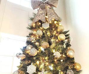 beautiful, christmas tree, and gold christmas tree image