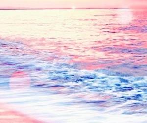 background, sea, and sunset image