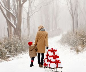 kid, mom, and snow image