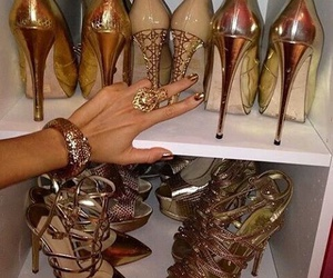 girl, gold, and high heels image