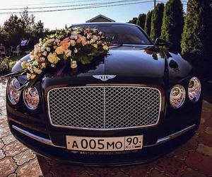 Bentley, car, and flowers image