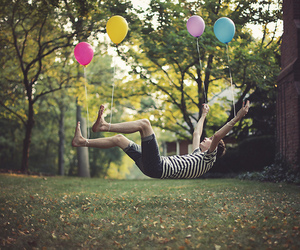 boy, balloons, and photography image