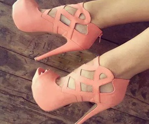 fashion, pink heels, and wooden floor image