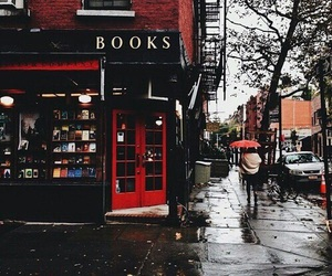 book, rain, and red image