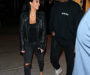 kim kardashian, fashion, and couple image
