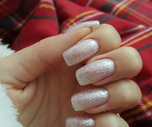 silver nails, gel nails, and glitter nails image