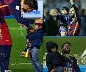 football, trophy, and dad and son image