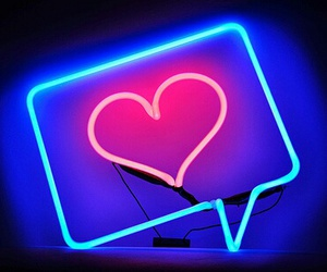neon, heart, and blue image
