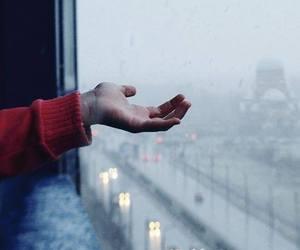 rain, hand, and city image