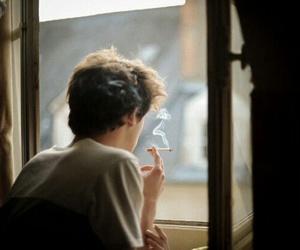 boy, smoke, and cigarette image