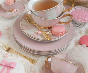 pink, tea, and food image