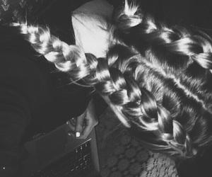 blackandwhite, braids, and dark image