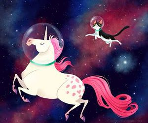 cat, unicorn, and space image