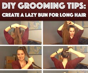 bun, hair, and diy image