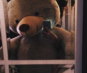 bear, girl, and phone image