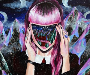 art, pink, and moon image