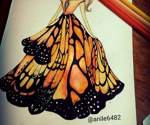 beauty, butterfly, and draw image
