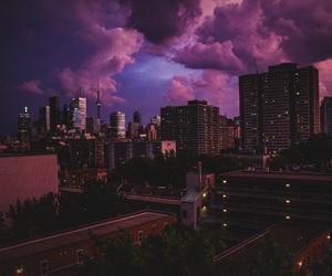 city, sky, and purple image