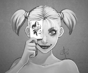 harley quinn, joker, and funny image