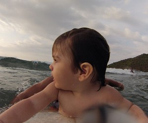 baby, beach, and surf image