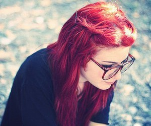 red hair, girl, and glasses image