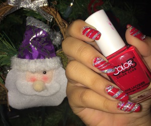 cristmas, candy cane, and nails image