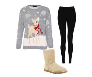 christmas, deer, and leggings image