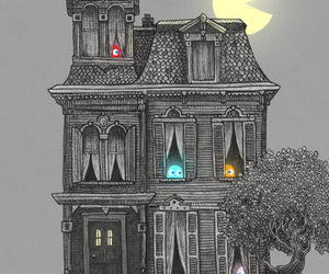 pacman, house, and black image