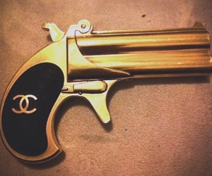 chanel, gun, and gold image
