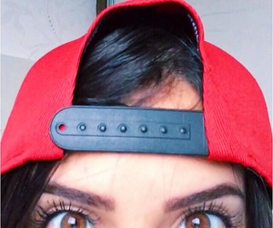 cap, eyelashes, and snapback image