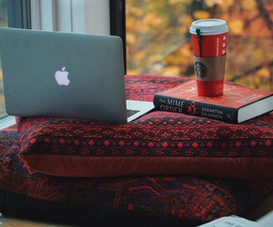 book, coffee, and laptop image