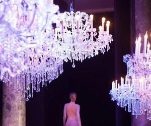 chandelier, dress, and beautiful image