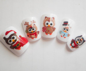 nails, owl, and christmas image