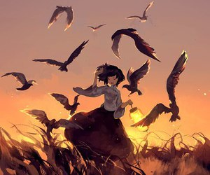 anime, bird, and anime girl image