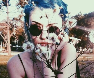 blue hair, nature, and pale image
