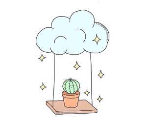 overlay, cactus, and clouds image