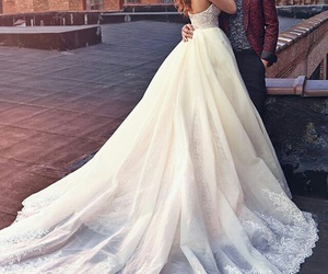 wedding, dress, and couple image