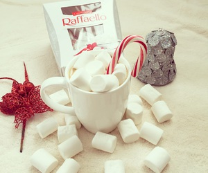 christmas, hot ​chocolate, and marshmallow image