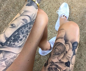 arm tattoo, inked, and roses image