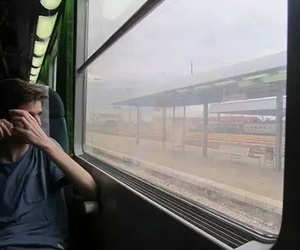 boy, train, and grunge image